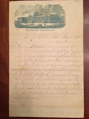 RARE 1861 Civil War Soldier Letter: Camp Life GAMBLING Port Royal SOUTH CAROLINA