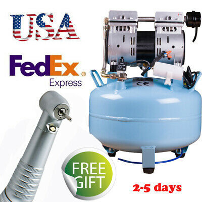 USA DENTAL Noiseless Oilless Air Compressor pressure motor 3/4HP + LED handpiece