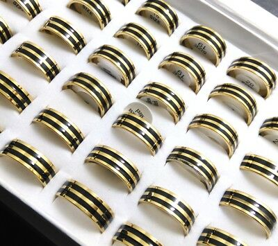 new 50x black enamel gold polished quality 316L stainless steel wedding rings