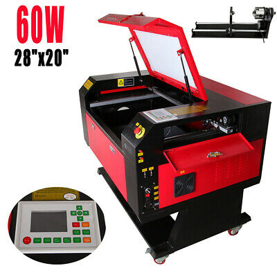 60W CO2 Laser Engraving Cutting Machine Engraver Cutter USB w/ CNC Rotary A-xis