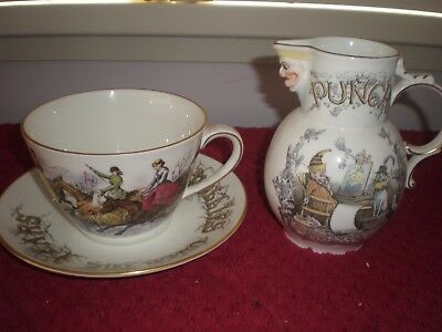 """Coalport """"Punch Publications"""" Oversized Coffee Cup & Saucer and a Milk Jug"""