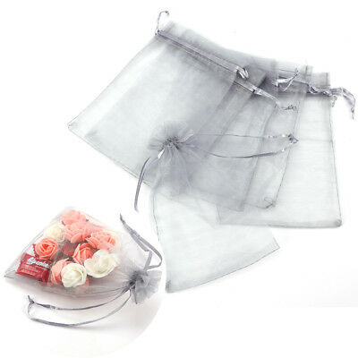 100pcs Organza Jewelry Pouch Wedding Party Favor Gift Bag 9x7cm/12x9cm/15x10cm