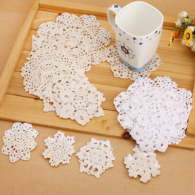 24Pcs White &Vintage Floral Hand Crochet Snowflake Doily Table Hollow Cup Mat