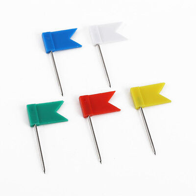 100 X Flag Marker Shape Map Pins Notice Board Push Pin Thumb Tacks Office Home