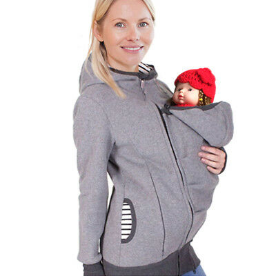 Womens Maternity Coat Kangaroo Hooded Jacket Sweatshirt for Mom and Baby Carrier