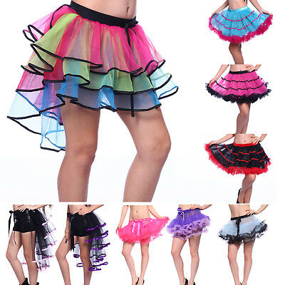 Ruffle Tiered Tutu Skirt Rainbow Neon Rave Party Ballet Dance Burlesque Costume