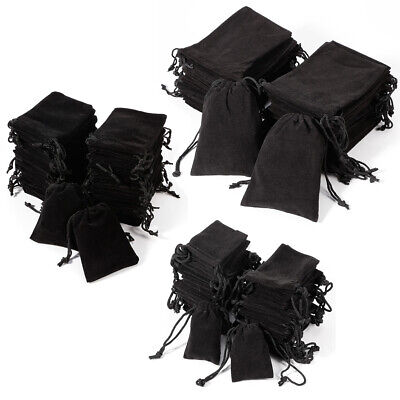 50x Bulk Pure Black Velvet MP3/ MP4/ Wedding Pouch Drawstring Gift Bags 3 sizes