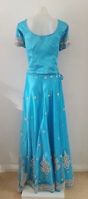 Turquoise and silver bridal/bridesmaid lehenga - bollywood costume