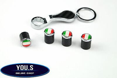 4x Italy Carbon Flags Valve Caps with Theft Protection for Car Motorcycle