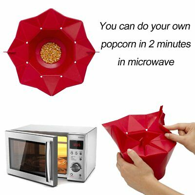 DIY Poptop Popcorn Popper Maker DIY Silicone Microwave Popcorn Maker Bucket AU