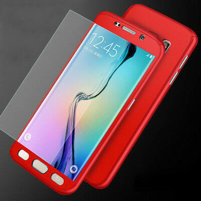 360° Full Protect PC Hard Hybrid Case+Tempered Glass Cover For Samsung Galaxy