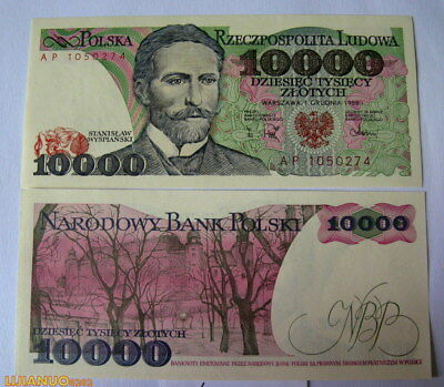 Polen poland 10000 Zlotych 1988 P115 UNC BANKNOTE CURRENCY EUROPEAN PAPER MONEY