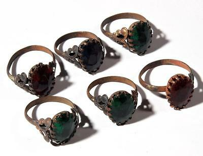 (6) vintage Bohemian gold tone glass rhinestone costume jewelry ring elements