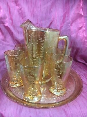 Carnival Glass Style Water Jug And Six Glasses With Tray 1930s