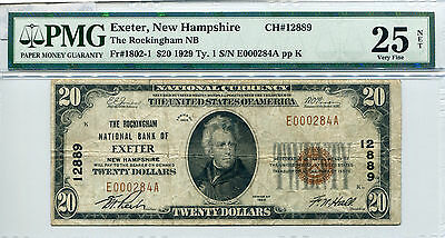 1929 $20 Exeter New Hampshire - The Rockingham NB CH# 12889 VF-25 PMG Certified