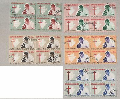 Burundi 1965 Tubercolosis Sets of Stamps in Blocks CTO