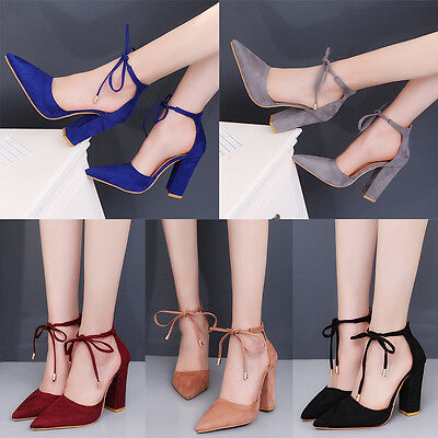 New Women's Block Kitten High Heels Suede Leather Shoes Pumps Pointed sandals