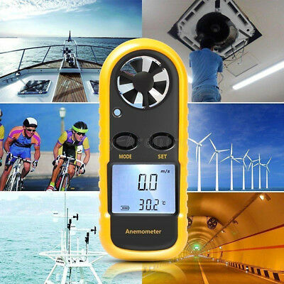 LCD Digitaler Windmesser Thermometer Anemometer Windgeschwindigkeit Meter GM816