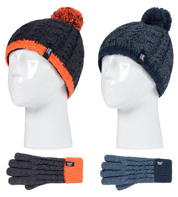 Heat Holders - Kids Boys Knit Thermal Winter Pom Pom Beanie Hat and Gloves Set