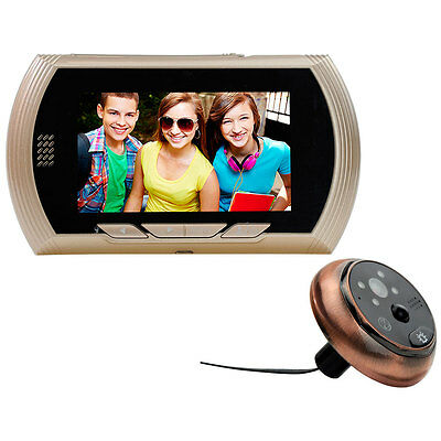 4.3 Inch LCD Digital Peephole Door Camera Viewer Smart Monitor Gold UK