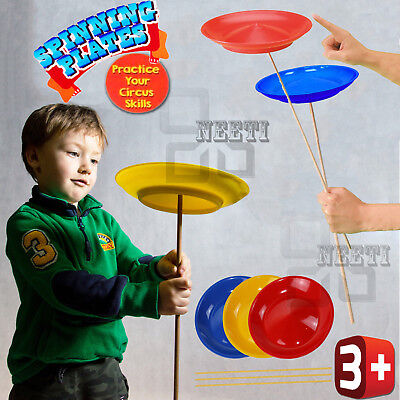 Kids Circus 3 Spinning Plates W/D Sticks Magic Skill Tricks Beginner Party Toy