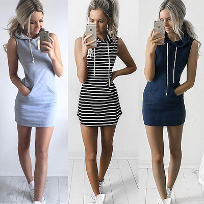 AU Womens Slim Bodycon Summer Bandage Mini Dress Hoodies Pullover Tops Size 6-14