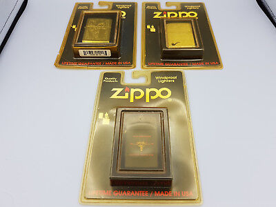 New old stock lot of 3 vintage Zippo lighters - venetian - pipe - nas miramar