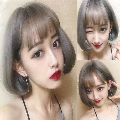 Women Natural Short Straight Grey Ombre Wigs Fancy Dress Party Cosplay Hair Wig