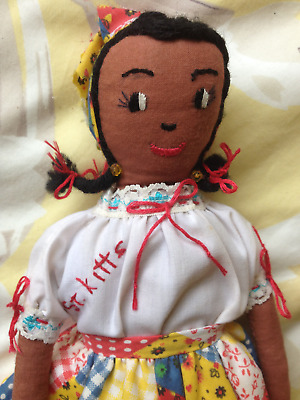St Kitts cloth doll . Caribbean.West Indian. Handmade, fabric Vintage/old.