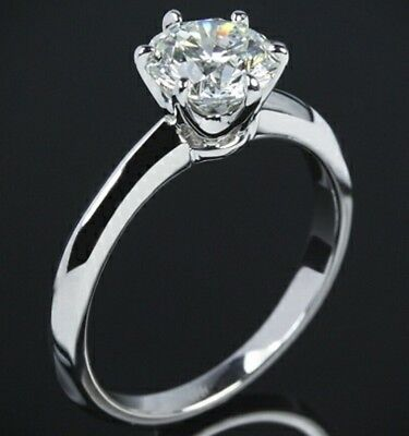 Platinum Solid Silver 2.0Ct Princess Round Brilliant Cut Diamond Engagement Ring