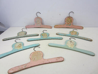 8 Vintage Wooden Baby Clothes Hangers