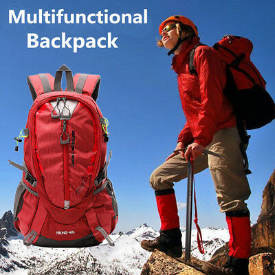 40L Red Waterproof Camping Hiking Backpack Outdoor Sport Rucksack Shoulder Bag