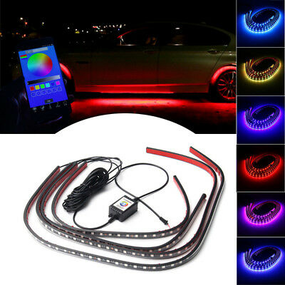 4x RGB LED Unterbodenbeleuchtung Atmosphäre Neon Lampe App Musik Control Kit