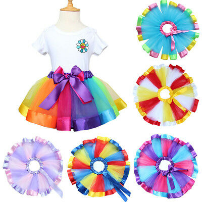Kids Baby Handmade Colorful Tutu Skirt Girls Rainbow Tulle Tutu Mini Dress 0-10Y
