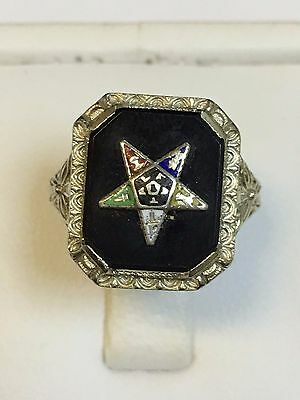Unusual ANTIQUE 18 Carat White Gold MASONIC EASTERN STAR RING