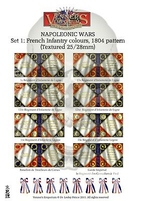 FLAGS NAPOLEONIC WARS SET 8 25//28MM TEXTURED RUSSIAN INFANTRY COLOURS 1