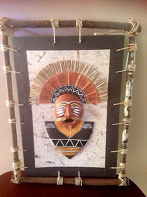 Asian Native Canvas Painting w/ Handcrafted Stick Frame