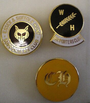 FOXHOUND HUNTING 3 x Pin Badges ESSEX & SUFFOLK HUNT S.C., W.H SUPPORTERS, CH