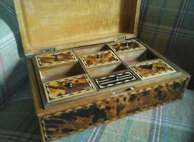 Early Fuax  Hawksbill Tortoiseshell Sewing Box Wood Inlay
