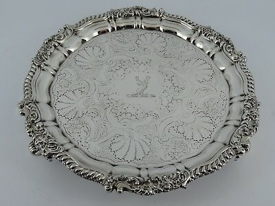 Georgian George Iii Solid Sterling Silver Salver Waiter Sheffield 1819 391G