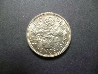 1965 English Sixpence Coin In Good  Used Condition, 1965 Sixpence Piece.