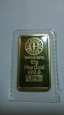 ARGOR HERAEUS 10g FINE GOLD  BAR GOLD LAYERED