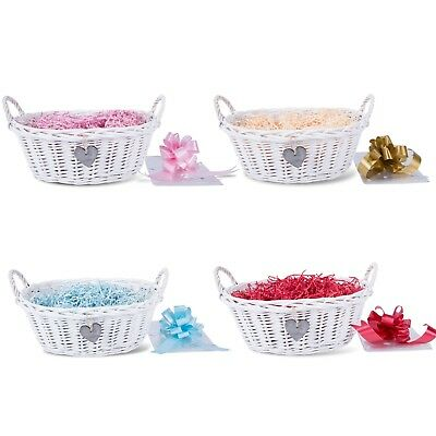 Baby Christening New Born Gift Hamper Wicker Basket Shredded Paper Cello Wrap Pu