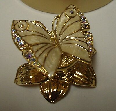 """Estee Lauder Solid Perfume Compact """"Enchanted Butterfly"""" in Both Boxes!"""