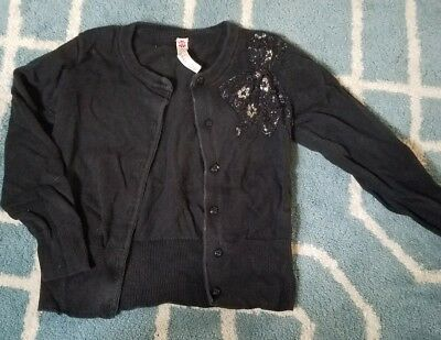 Cherokee Girls 5T Black Sweater Cardigan Bow embellishment free shipping