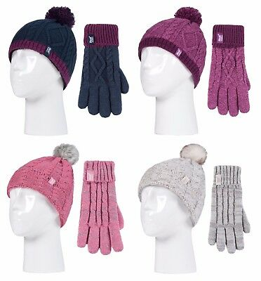 Heat Holders - Kids Girls Knitted Winter Thermal Pom Pom Beanie and Gloves Set