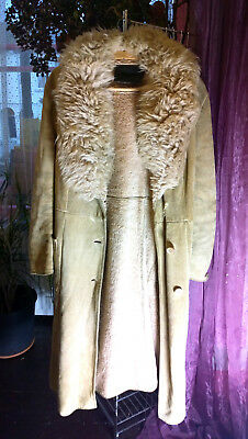 Vintage Suede Leather Coat, Large Lambs Wool Collar
