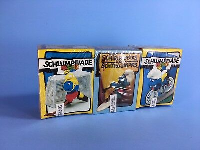 Vintage Super Smurfs HOCKEY - WIND SAILING - BICYCLE Olympics 3 pack NEW SEALED
