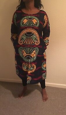 African Print Dress Size 12  Dress with pockets