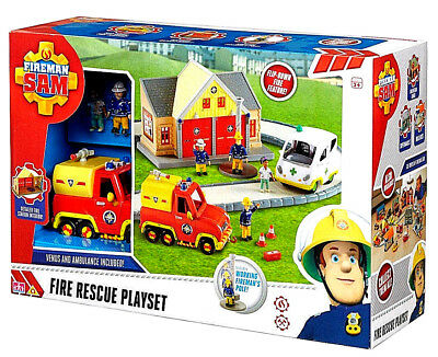 Fireman Sam Fire Rescue Playset Fire Station Venus Ambulance 4 Figures New Gift